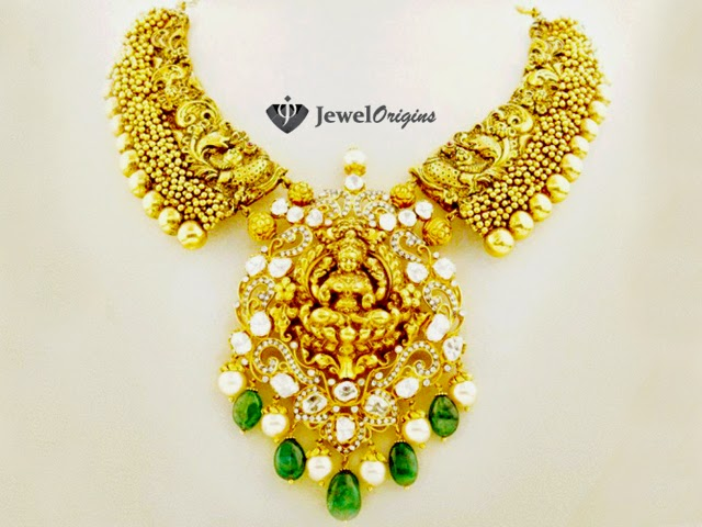 Antique peacock necklace with lakshmi pendant jewelorigins 22 carat gold antique finish peacock design nakshi work necklace with goddess lakshmi pendant studded with uncut diamonds polkis south sea pearl drops and aloadofball Image collections