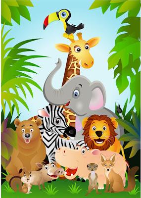 Ilustración a todo color con los animales de la selva