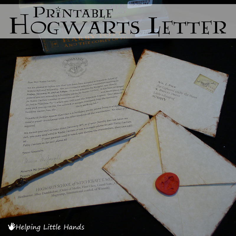 Pieces by polly printable hogwarts acceptance letters or harry all thought they were really cool and it made them really excited to come to the party you can see an overview of the whole harry potter party here spiritdancerdesigns Gallery