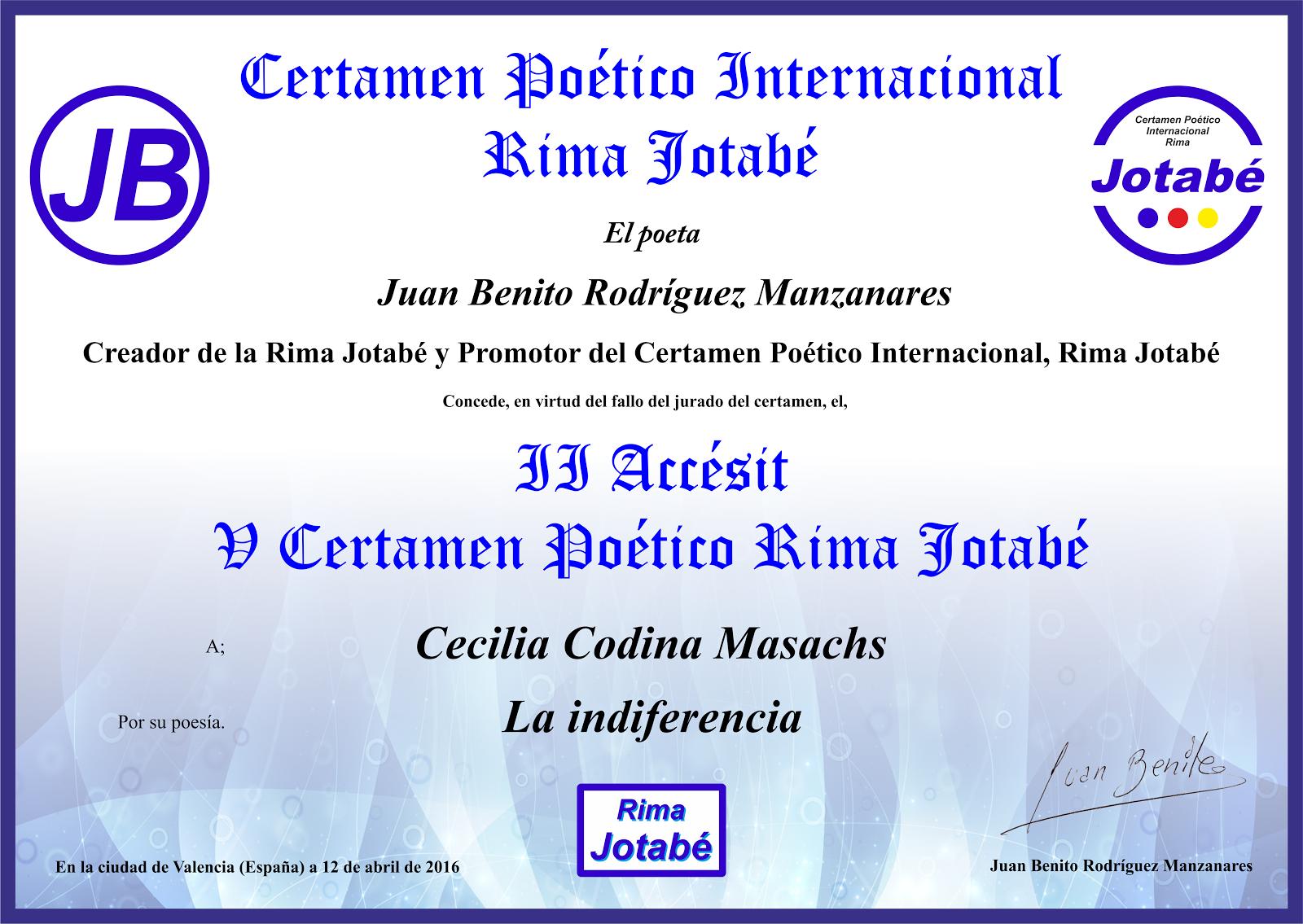 CERTAMEN POÉTICO INTERNACIONAL RIMA JOTABÉ