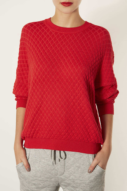 red quilted sweater