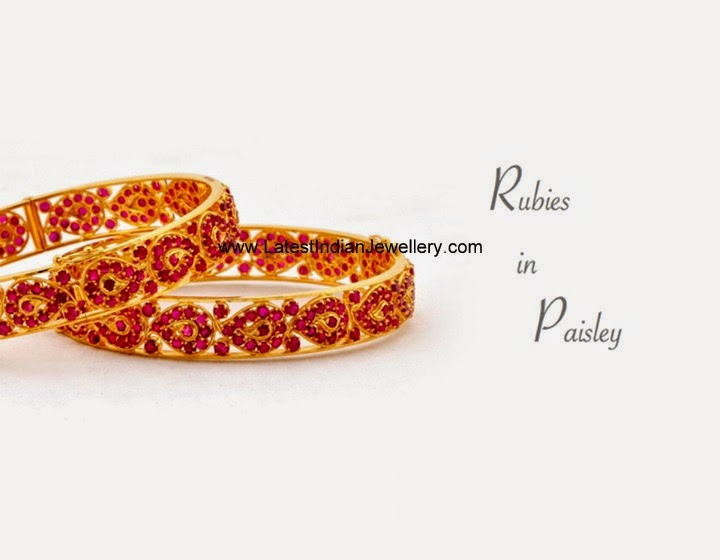 Paisley Design Ruby Bangles in Gold