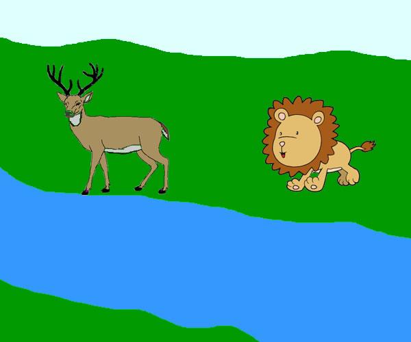 El Ciervo, el Manantial y el León | Fábulas para Niños