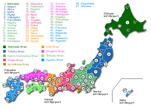 Карта префектур Японии