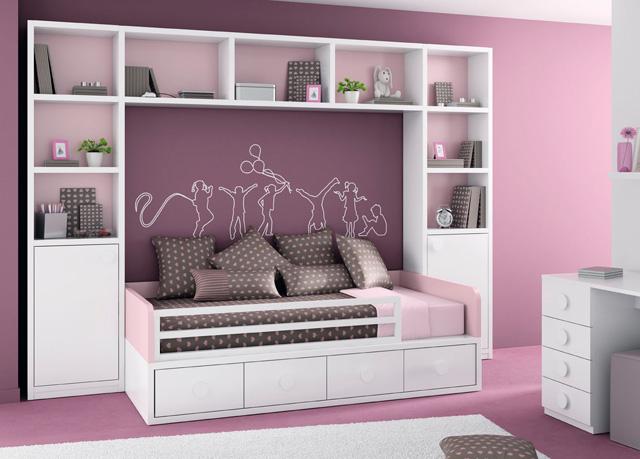 Dormitorio con puente estanteria blanco y rosa for Mueble puente juvenil