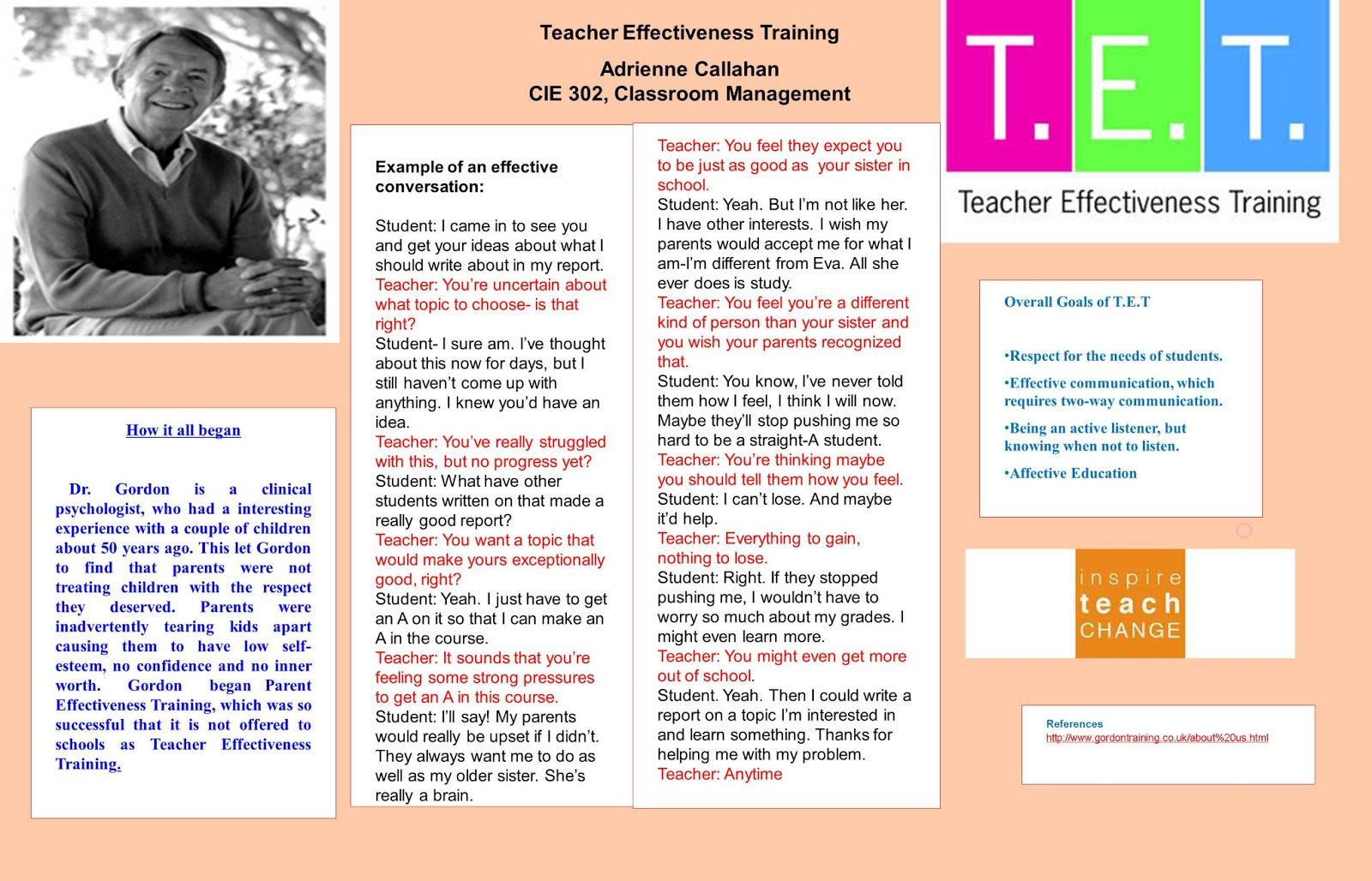 CIE 302 Theorist Model Posters Teacher Effectiveness Training