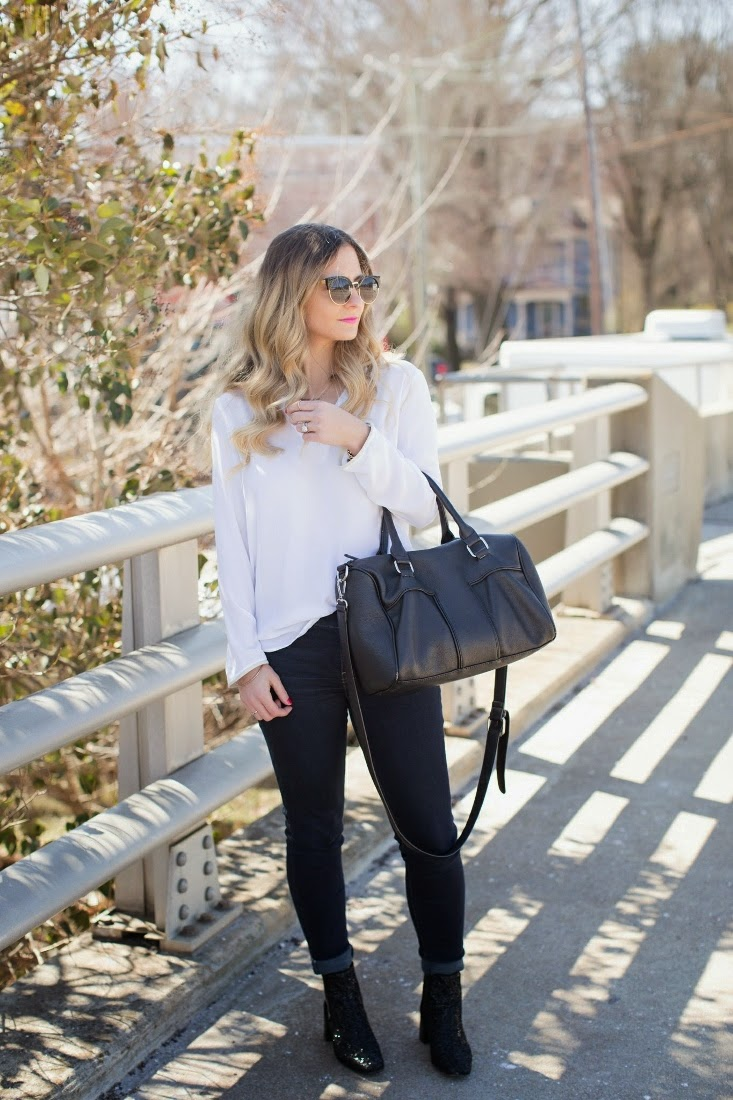 White Shirt with Jeans and Zara Glitter Booties