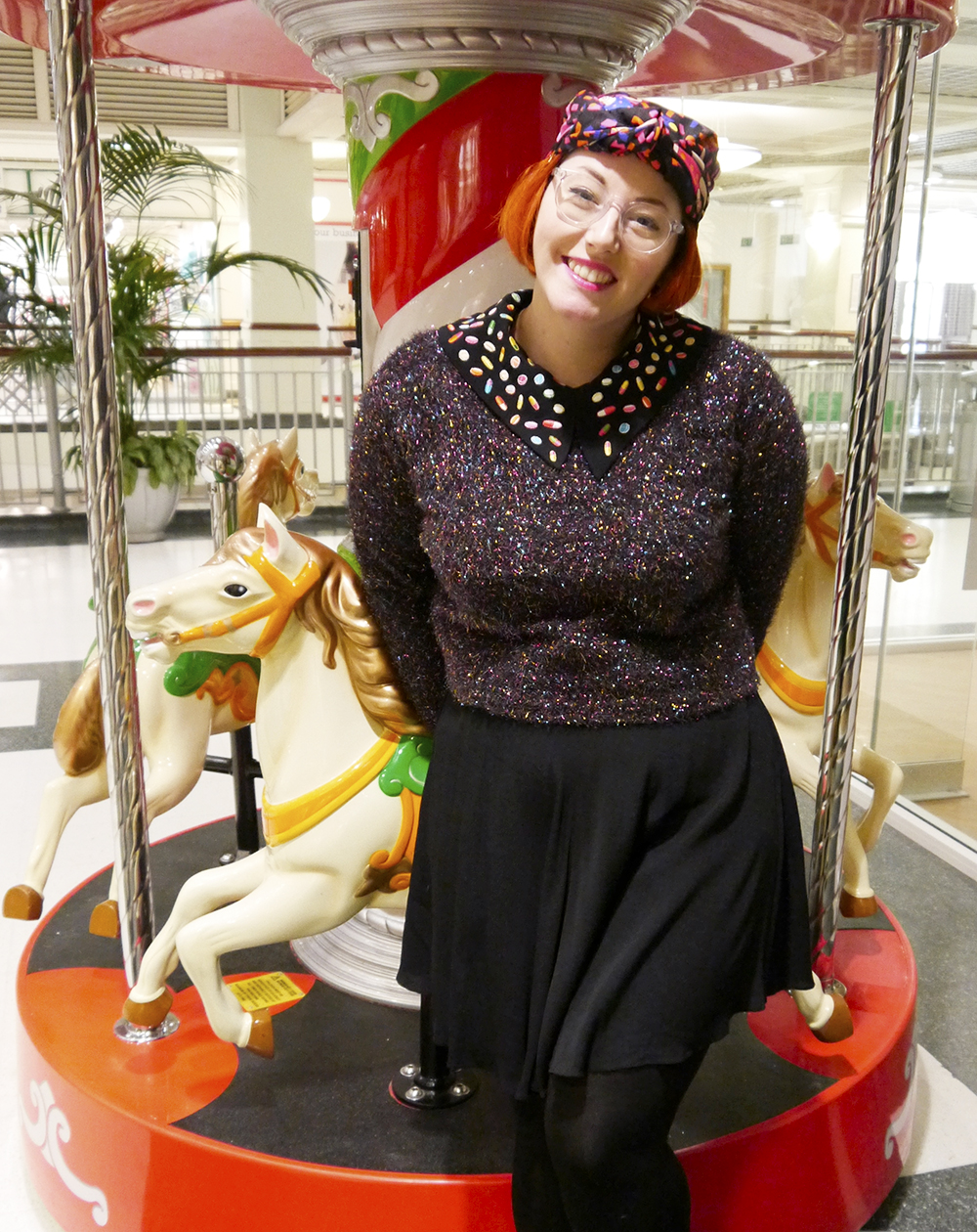 scarf styling, Scottish blogger, dundee blogger, turban, Karen Mabon x Lush scarf, H&M sparkly jumper, Karen Mabon x Coco Fennell dress, velvet Topshop shoes, shopping centre,