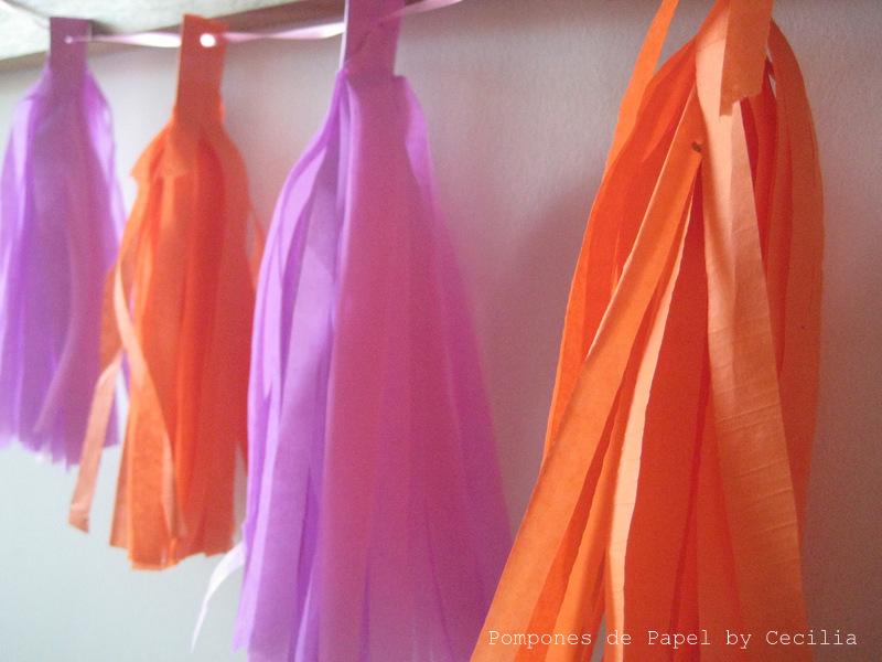 Pompones de papel guirnaldas flecos - Como se hacen los pompones ...