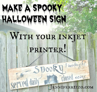 Make a spooky wood Halloween sign with your inkjet printer,includes printables for the project