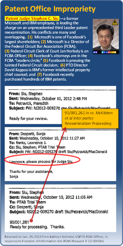USPTO FOIA, Kathryn Siehndel, Response F-13-000064, Jan. 29, 2013