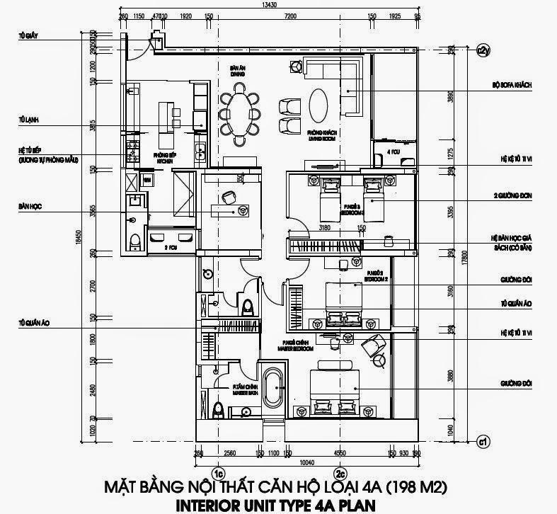 Bản vẽ thiết kế căn hộ CH4A - 198m2 Chung cư Dolphin Plaza
