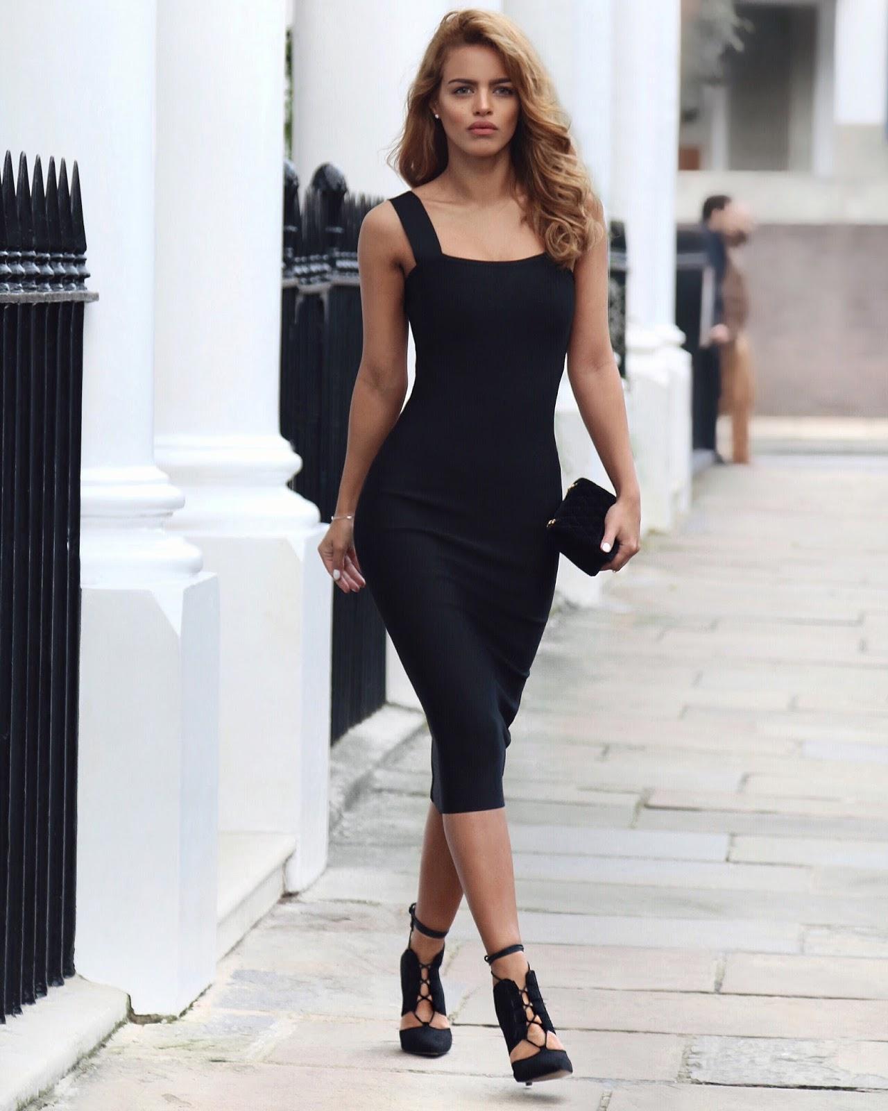 how to wear black.wollen dress