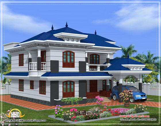 Side elevation of beautiful Kerala home design - April 2012