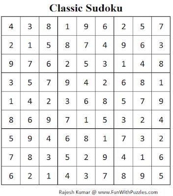 Standard Sudoku (Fun With Sudoku #56) Solution