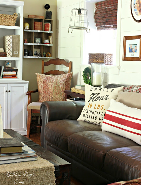 Cabin style family room with brown leather furniture-www.goldenboysandme.com