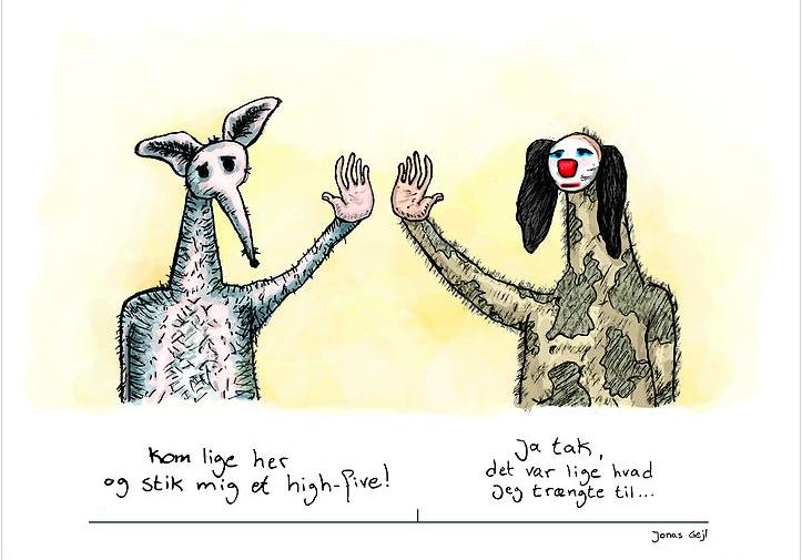 Original tegning med en lille historie til væggen af illustrator Jonas Gejl