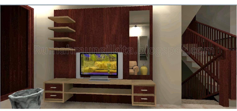 Backdrop TV nuansa kayu