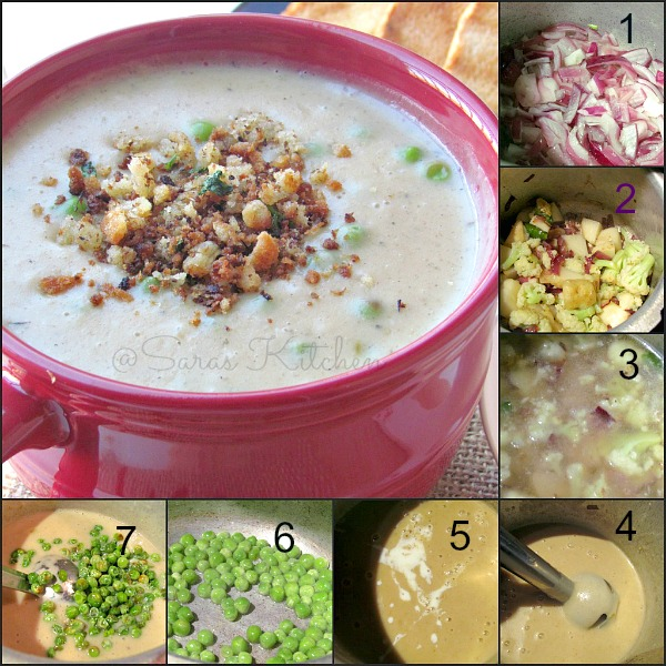 Creamy Cauliflower Potato Peas Soup / Aloo Gobi Mutter Soup