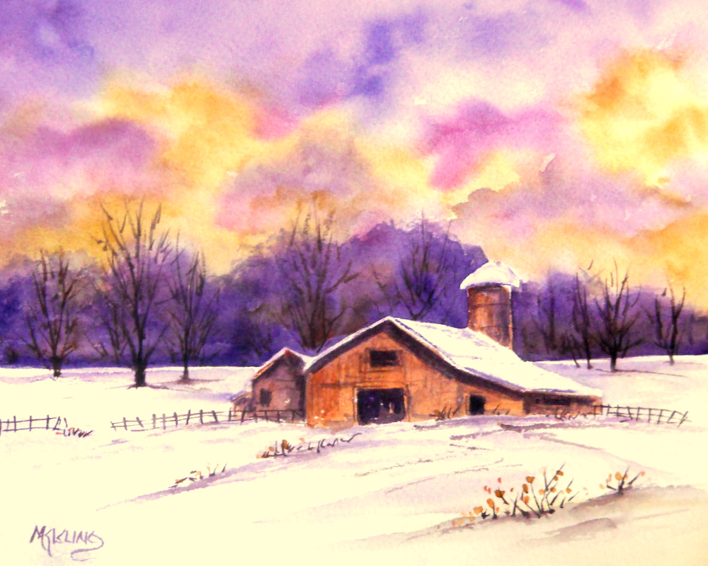 Martha kisling art with heart old barn and colorful sky for Watercolor barn paintings