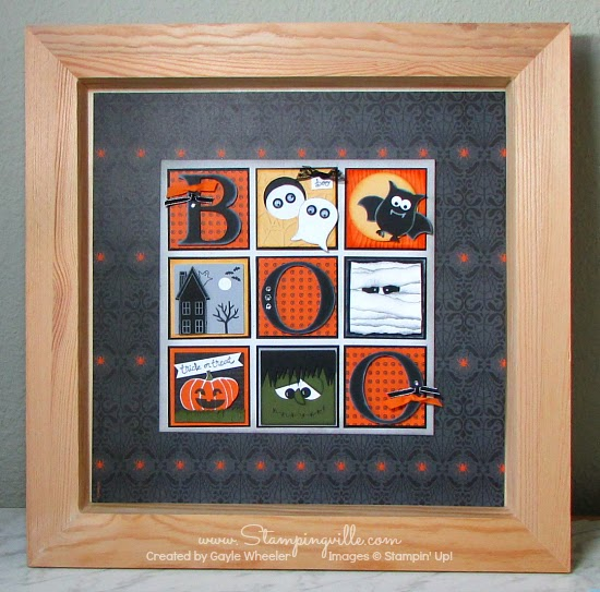 Framed Halloween Sampler Display | Stampingville #Halloween #papercrafts #StampinUp