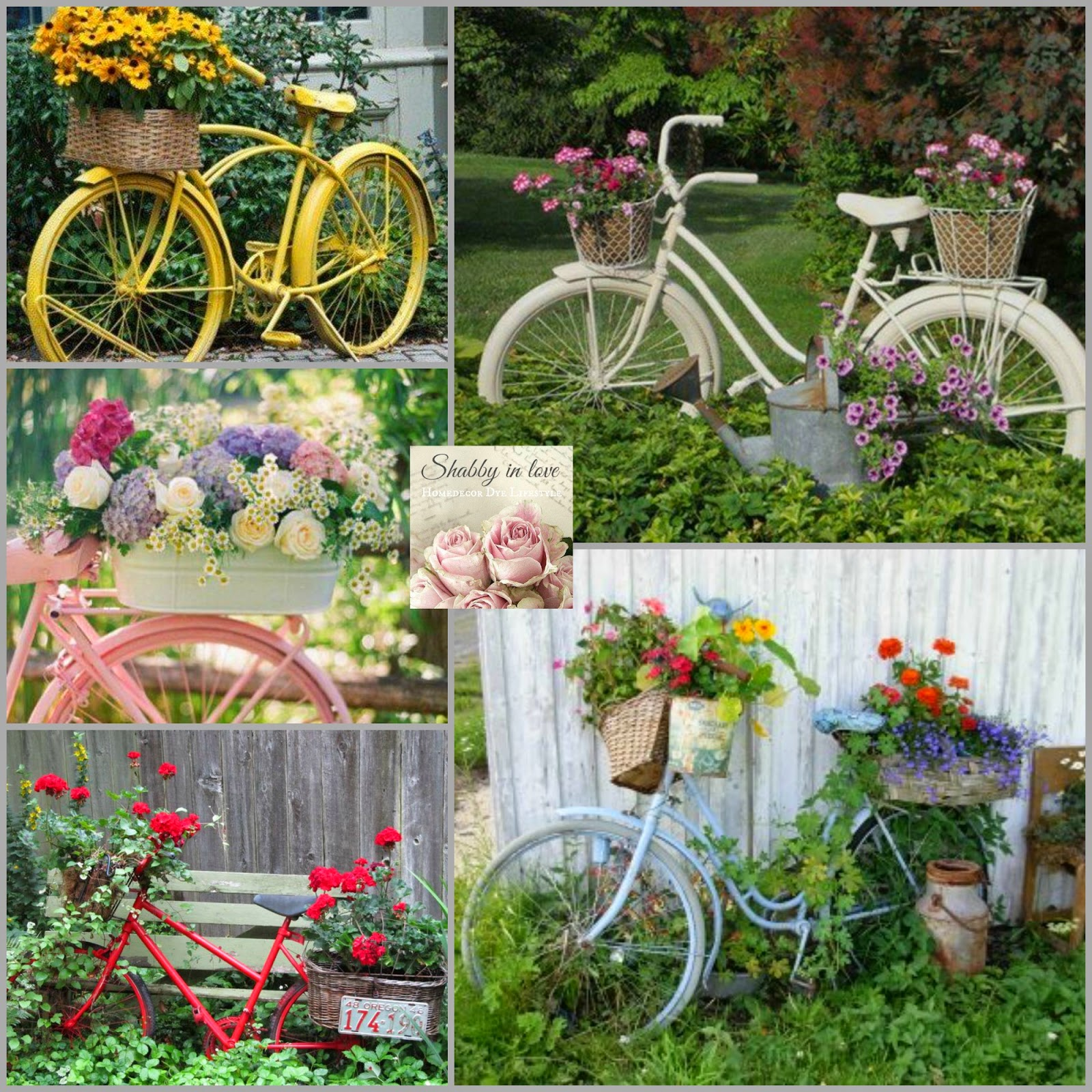 Shabby in love lovely garden container ideas for Flower garden ornaments