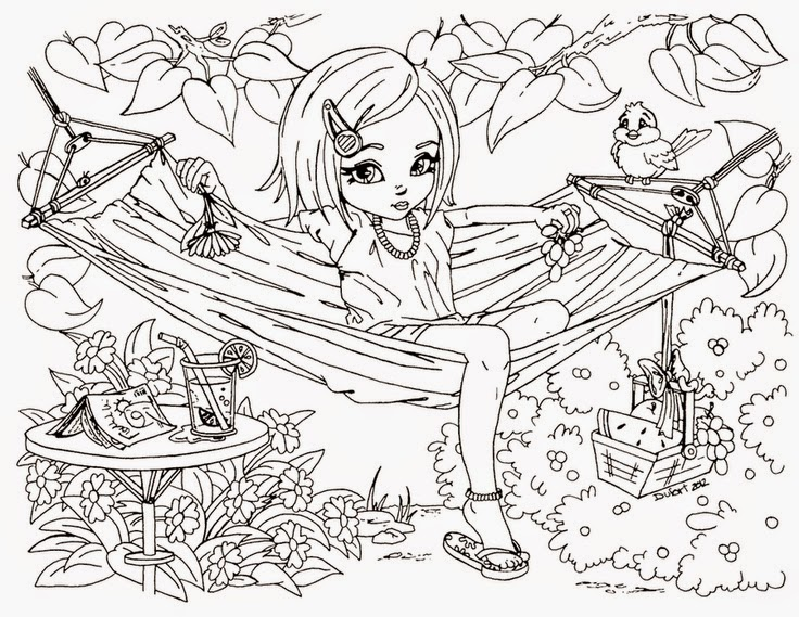 girl difficult coloring pages - photo#4
