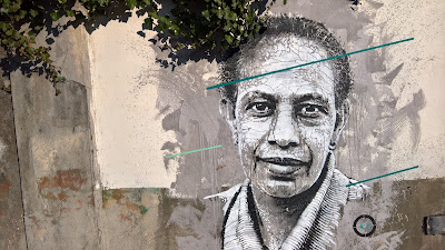 Face to Face Workshop 2015 - stencils of faces of people from the Malpensata district.