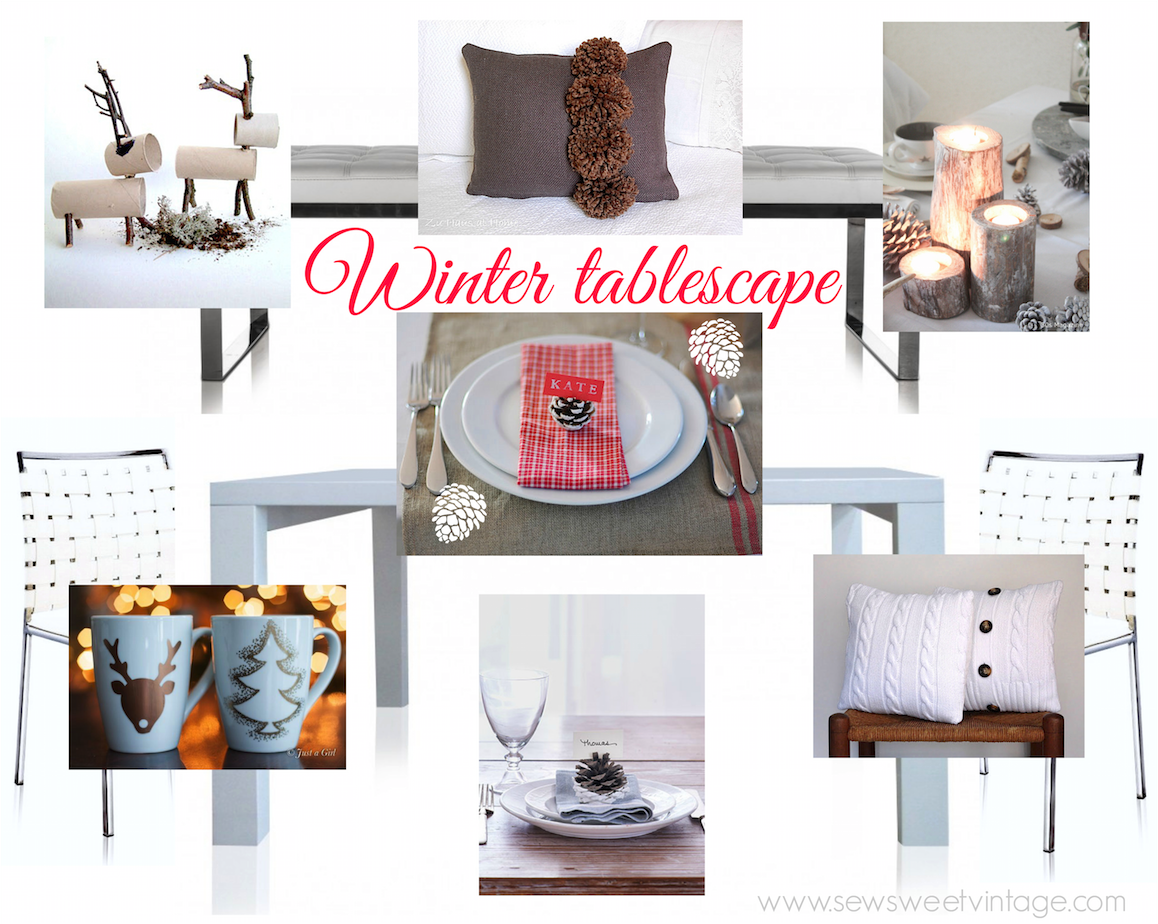 Modern and rustic Winter table setting, diy mugs, sweater pillows, paper reindeer, dipped pine cone name places, wooden votive candles.