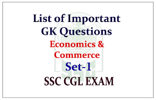 List of Important GK Questions from Economics & Commerce