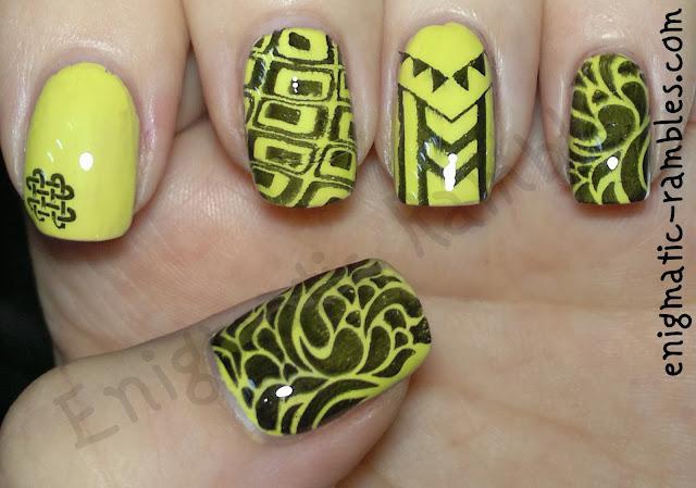 avon-lime-splatter-abstract-nails
