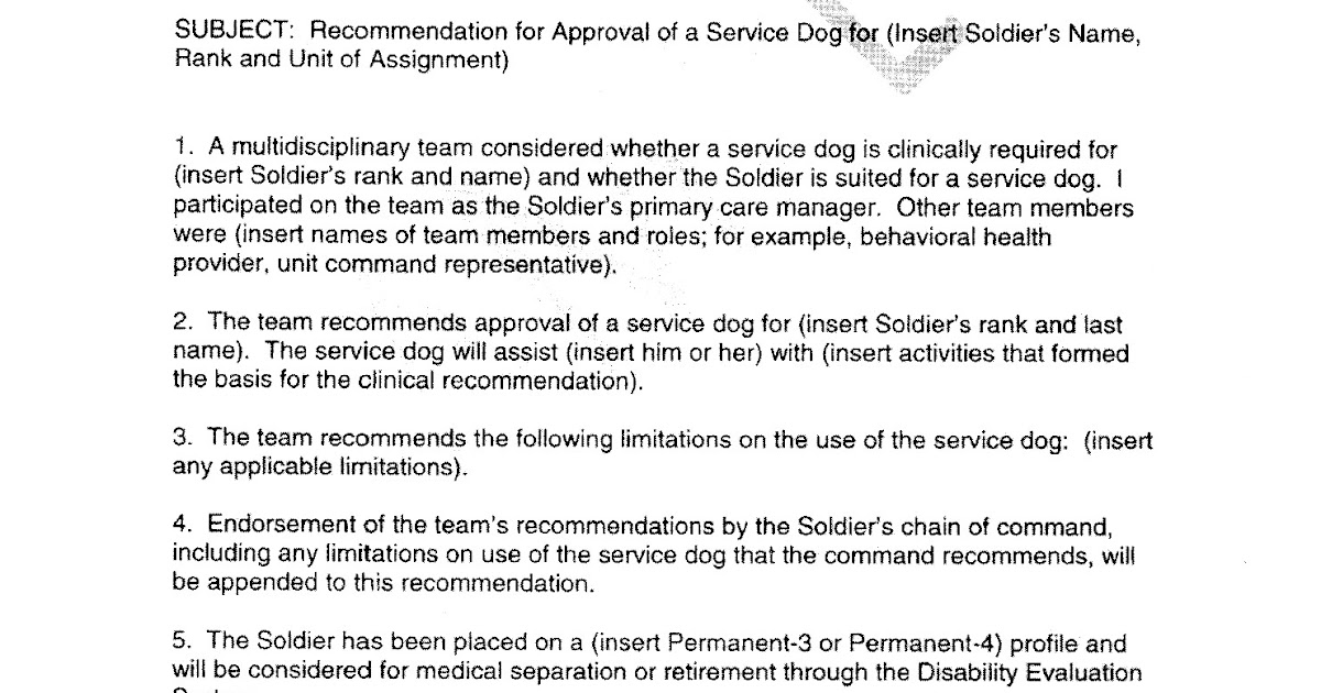 dog law reporter army issues formal service dog policy