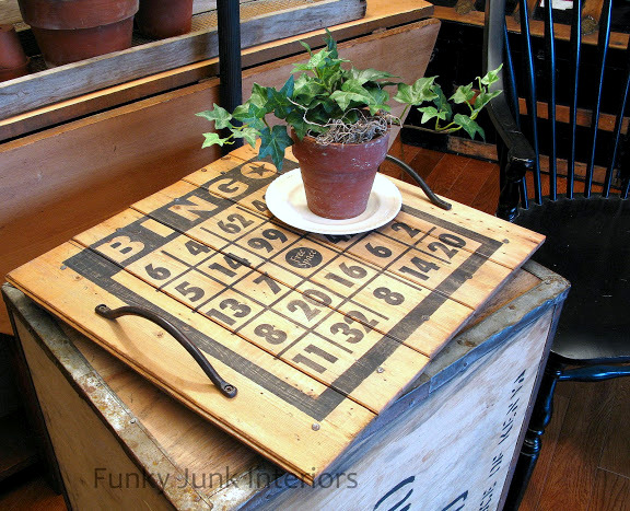 Bingo board tray via Funky Junk Interiors