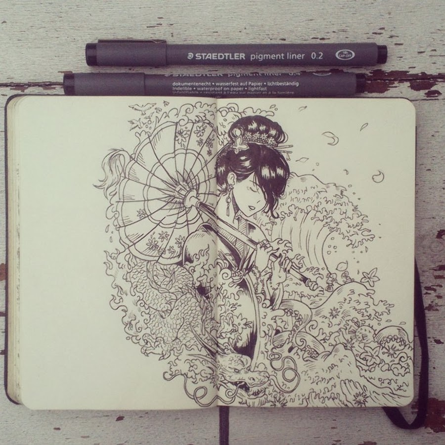 02-#4-Thin-Rain-365-Days-of-Doodles-Gabriel-Picolo-www-designstack-co