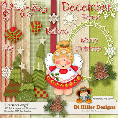Free scrapbook Angel kit from Di Hiller Designs