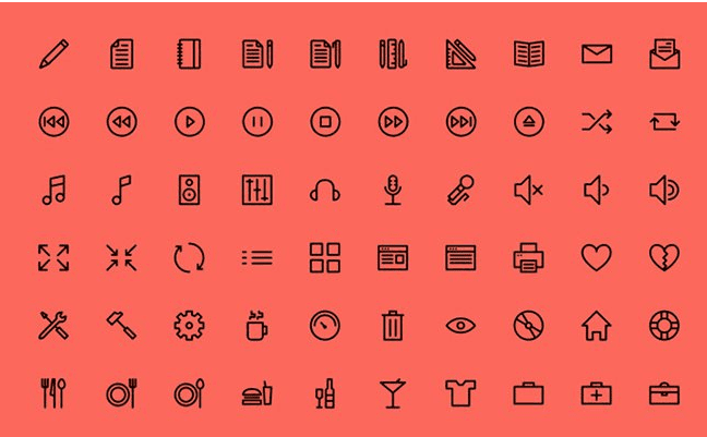 Outlined Icons (PSD, AI, SVG, Webfont)