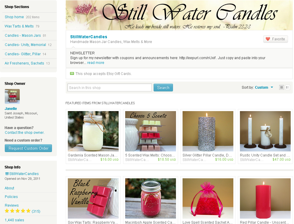 still water candles on etsy
