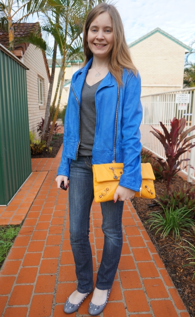 Away From Blue Casual Weekend Jeans and Grey Tee OOTD Cobalt Blue Leather Jacket