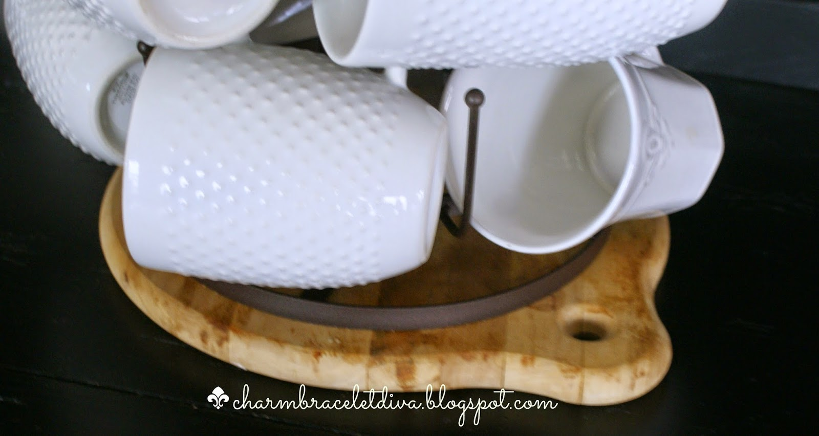 bottle drying rack with hobnail mugs charm bracelet diva at home
