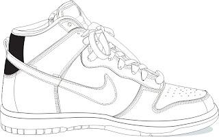 Desenhos Preto e Branco Os Tênis allstar e Nike Colorir