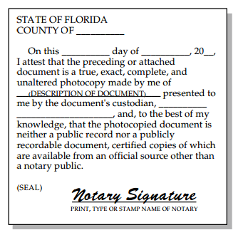 In Florida, Notaries Are Authorized To Attest To The Trueness Of  Photocopies Of Certain Documents.
