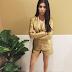 Kourtney Kardashian Rocks In Her Gold Blazer and Skirt (Photo)