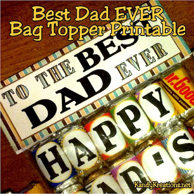 Make a fun treat for dad this father's day with an easy to print bag topper.  Fill your bag with sweet treats or Hershey mini candy bar printables for a gift dad will love!