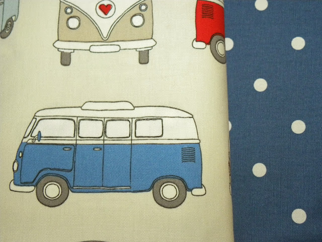 Campervan and spotty fabric