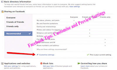 Facebook Tips: Customise and Preview Settings