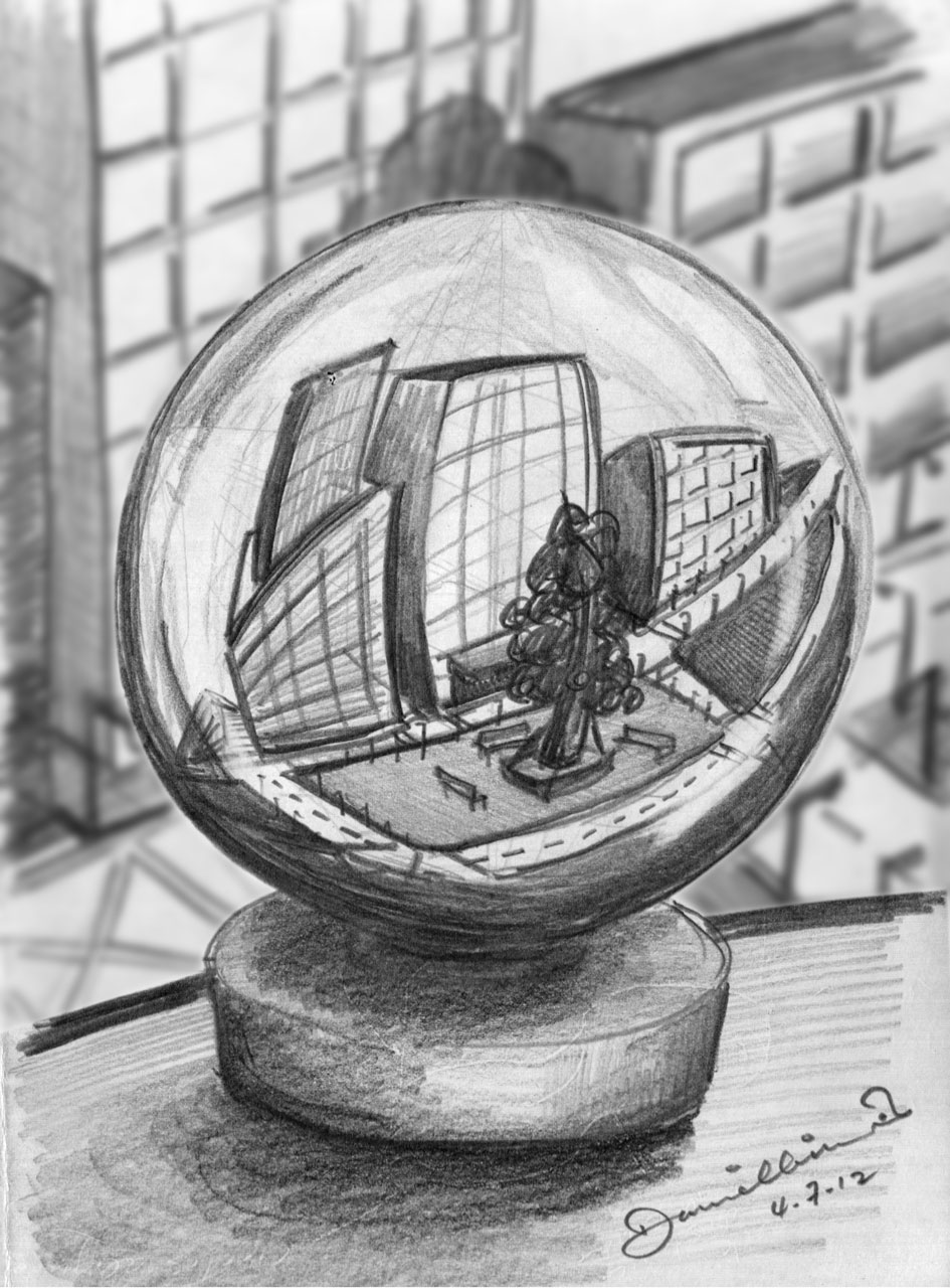 Daniel Lim Sketches 5 Point Perspective Office View