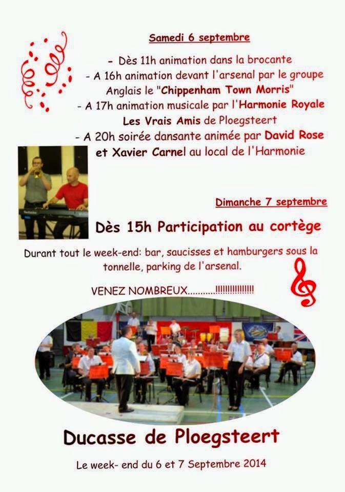 6 - 7 septembre Ducasse de Ploegsteert L'Harmonie Royale les vrais Amis