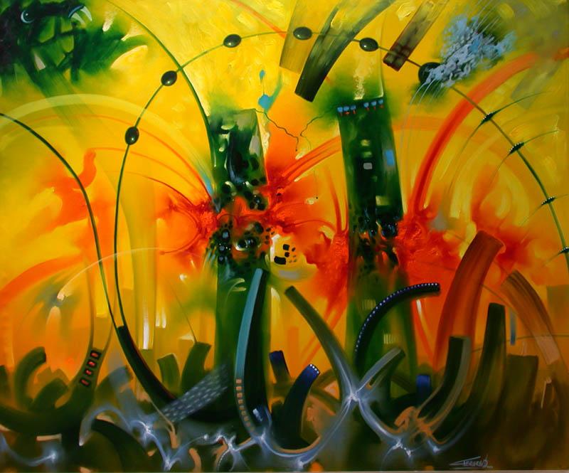 Pinturas cuadros lienzos abstractos colores vivos - Cuadros colores vivos ...