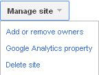 Manage Site Google Webmaster Tools