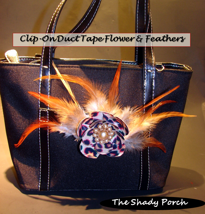 Clip-on Duct Tape Flowers  #crafts #fashion #feathers #flowers
